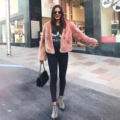 Score some serious street style points in the RILLA cropped faux fur jacket, available in 7 amazing colours. This warm fluffy jacket is totally on trend and features a button, pockets and full length sleeves. Pink Fluffy Jacket, Pink Fur Jacket, Pink Faux Fur Coat, White Fur Coat, Faux Fur Cropped Jacket, Oversized Jacket, Fluffy Coat, Winter Coat Outfits, Winter Coats