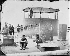 USS Monitor crew in James River, 1862