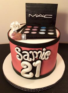 MAC makeup cake pink white black Serendipity Cakes by Olivia Girly Birthday Cakes, Make Up Cake, Mac Makeup, Serendipity, Pink White, Desserts, Black, Food, Sprouts