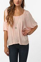 Urban Outfitters Daydreamer LA Solid Cold Shoulder Oversized Tee