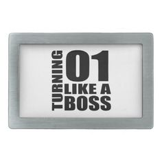 #Turning 01 Like A Boss Birthday Designs Rectangular Belt Buckle - #giftidea #gift #present #idea #one #first #bday #birthday #1stbirthday #party #1st