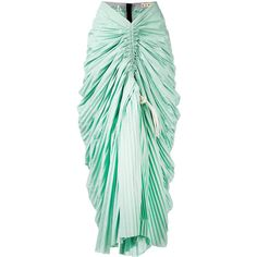 Marni ruched plissé mermaid skirt ($1,760) ❤ liked on Polyvore featuring skirts, green, ruched skirt, cotton pleated skirt, marni, marni skirt and shirred skirts