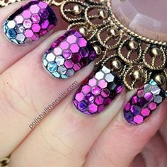 I love these I did this to my nails and they looked like fish scales or something I love them!! Mermaid nails! :)