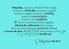 Philippians 4:8&9, Free Printable Bible Verse, Truth, God's Word