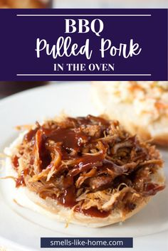 BBQ pulled pork is such a simple recipe to make in the oven that you'll never go back to using the crockpot for pulled pork again! It's brined then rubbed with a smoky mustard mixture and then sprinkled with spices before being roasted low and slow. The result is an amazing pulled pork recipe that can be used for sandwiches, nachos, or taquitos! Pulled Pork Sauce, Bbq Pulled Pork Recipe, Making Pulled Pork, Coleslaw Sandwich, Boneless Pork Shoulder, Cold Sandwiches, Recipe Inspiration, Grilled Pork, Fries In The Oven