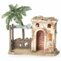 The lighted Bethlehem Inn stands 12 high and is battery operated ( batteries included) - It is made for the 5 Fontanini villages - Available at The Christmas Store of Smithfield - VA - Christmas Nativity Scene, Christmas Door Decorations, Christmas Wreaths, Village Houses, Fairy Houses, Bethlehem Inn, Fontanini Nativity, North Fort Myers, Medieval Houses