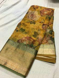 Pure organza digital print sarees Order what's app 7995736811 Organza Saree, Chiffon Saree, Silk Sarees, Ethnic Sarees, Indian Sarees, Cotton Saree Designs, Sari Blouse Designs, Sari Design, Floral Print Sarees