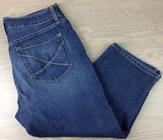 Not Your Daughters Jeans 12 Womens NYDJ Stretch Crop Capri Pants Denim Blue