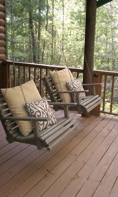 Chair swings #chair #swings #porch #wood #deck #outside #country