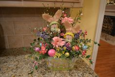 Burlap Bunny Arrangement by kristenscreations on Etsy