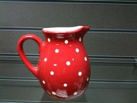 Red Milk Jug With Red Spotty Polka Dot Design - Ceramic Kitchenwares - Homestreet gifts, furniture, homewares, cushions, throws, gifts, curtains plus much more.