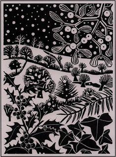 'December' by Carry Akroyd from John Clare's 'The Shepherd's Calendar' (linocut) Christmas Illustration, Illustration Art, Linoprint, Guache, Christmas Art, Christmas Landscape, Xmas, Celtic Christmas, White Christmas
