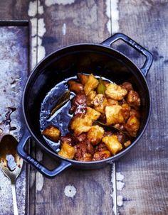 Cocotte de gnocchis et filet mignon Cocotte Staub, Diy Food, Cooking Time, Food Dishes, Curry, Pork, Yummy Food, Favorite Recipes, Pasta