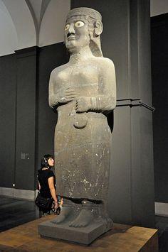 Aramean: Caryatid-Statue of Goddess Guzana (Tell Halaf) palace at Kapara 9th c. BC