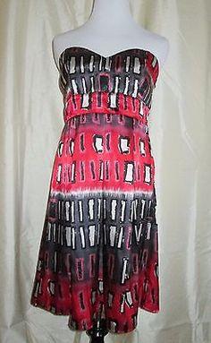 Kitty-Sexy-Yet-Classy-Dress-Med-Strapless-Geometric-Red-Design-Black-Gray-Club