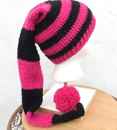 Extra Long Crochet Hot Pink Black Twinkly Pixie Elf by TEJIDOS, $50.00