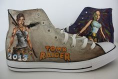 customize Converse/hand painted shoes/canvas shoes/TOMB RAIDER/sneaker