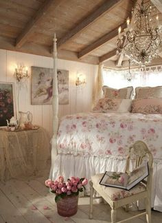 Romantic shabby chic bedroom. Love the chandelier!  ♥