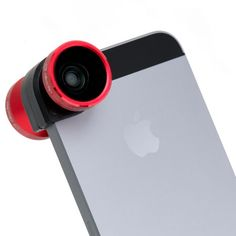 The Best Tech Gifts for the Holidays ~ Olloclip 4-in-1 lens system for the iPhone, includes one fish-eye, one wide-angle, and two macro lenses with 10x and 15x magnification to help you capture the exact image you desire, available in red (shown), black, and silver; $70.