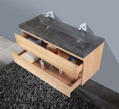 € 1.249,- Lambini Designs Wood Stone badmeubel - eiken - natuursteen - 2 kraangaten - 58cm (H) - 120cm (B) - 47cm (D) incl. spiegel op aluminium frame. #meubel #eiken #wood #hardsteen #softclose