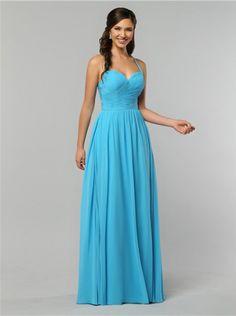 Sleeveless Chiffon Blue Halter Floor Length A-line Zipper Ruched Bridesmaid    Wedding Party Dresses e4c789dd1a0e