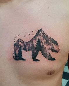 Bear Mountain Tattoo done by Kyle at Laughing Buddha Tattoo & Body Piercing Seattle, WA. Xoil Tattoos, Bear Tattoos, Body Art Tattoos, Octopus Tattoos, Tatoos, Tattoo Ink, Unique Half Sleeve Tattoos, Sleeve Tattoos For Women, Tattoos For Guys