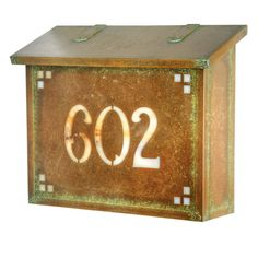 Americas Finest Lighting Pasadena Large Mailbox With House Numbers Gold Iridescent - AF-23-HN-WB-GI