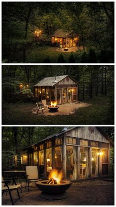 tiny house tucked in the woods The Glass House / The Green Life Green Life, Cabins In The Woods, House In The Woods, House In Nature, Cabins And Cottages, Small Cottages, Tiny Cabins, Log Cabins, Small Houses