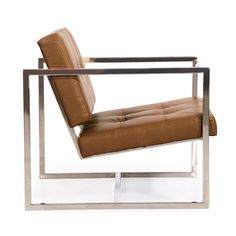 Kardiel offers a rare premium aniline leather reproduction of the Circa 1950 Cube chair. The design is a masterful play on geometric shapes combining to create the arms, the base frame and seat and back platform. The inner frame of the seat is wood wrapped in multi-density foam and Dacron. Gently button tufting on the seat and the back soften the appearance of the stoic cube shaped cushions. The joints of the stainless steel frame have been ground, sanded and sealed. The stainless steel…