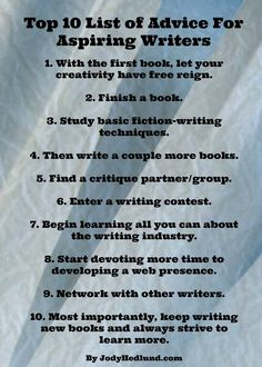 Advice for aspiring writers, apart from the misspelling of 'reign' in item 1 which should be 'rein' :)