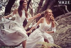 Stunning: In the March issue of Vogue Australia, actresses Teresa Palmer and Phoebe Tonkin...