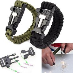 StuffForYou Twin Pack Paracord Survival Bracelet with Flint Fire Starter Scraper Whistle Parachute Rope for Fishing Boating Camping Hiking Emergency and MORE * Check this awesome product by going to the link at the image. (This is an affiliate link) Survival Items, Survival Tools, Camping Survival, Outdoor Survival, Survival Prepping, Outdoor Camping, Survival Gadgets, Flint Fire Starter, Apocalypse