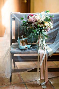Wedding Day Accessories Bridal Bouquet Shoes Blue Heels Veil | Chico-Wedding-Photographer-Private-Estate-Northern-California-TréCreative