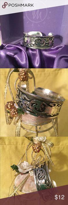 Vtg:Tibetan bangle Tibetan silver plated bangle . Adjustable size. NWOT. Jewelry Bracelets