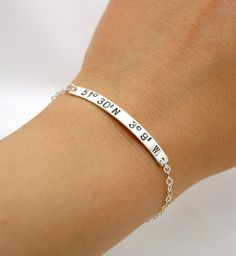 Personalized Hand Stamped Custom Latitude and Longitude Coordinates Bracelet - Sterling Silver Skinny ID Bar