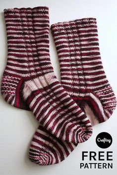 Knit up this stripy sock pattern and make a cozy new treat for you feet. Get the pattern free at Craftsy!