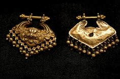 Art that soothes the Soul 531 - KirtiMukh Gold Earrings Western India  #art #asianart #decor #style #artconsultant  #interiors #vintage