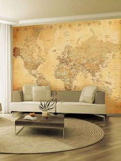 The gold tones of this wall map are soft and warm. The rest of the room is rightly neutral, decorated in warm shades of beige. brown and 'greige'. Cosy and elegant.