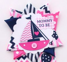 Navy and Pink Baby Shower Idea - corsage for the Mommy to be! - available on etsy