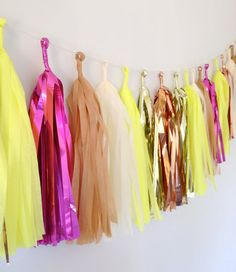 #Neon Glitter Dipped Tissue Tassel Garland  Bold, Beautiful, & Unique!  Etsy Thursday: Neon Weddings  Join www.3d-memoirs.com every Thursday for fabulous #Etsy #wedding finds & inspiration for a unique wedding theme!