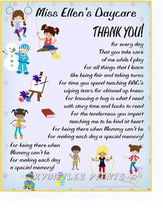 Wall Art Child's THANK-YOU Poem Gift To Their by KydittlezPrints