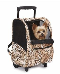 Dog Pet Backpack Carrier Animal print w  wheels Tote fa8582ff64