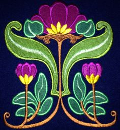Art  Nouveau Embroidery Machine Designs.  They are hand dyed wool on wool applique. Email me for information. deborah.joiner@gmail.com