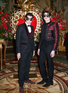 Harry Brant and Peter Brant Jr. attend the 2015 Save Venice Gala in New York City, wearing decadent looks from Dolce & Gabbana.