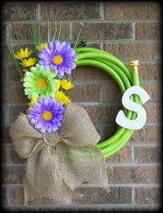 Water Garden Hose Wreath with flowers by MitchellMommyCrafts, $46.00