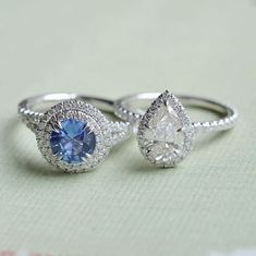 These unique halo rings are dazzling.