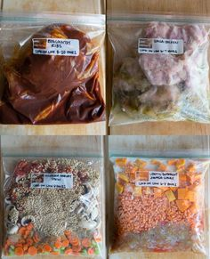 Mushroom Barley Stew  1 pound mushrooms, 2 sliced carrots, 1 sliced celery rib, 1 diced onion, 15 ounce can diced tomatoes, 1 cup uncooked barley  Extra instructions: add 2 quarts vegetable stock to the slow cooker before cooking  Cook time: 8 hours on LOW  Serve with: hot, crusty bread or rolls  Serves 4-6  Read more at http://hellonatural.co/slow-cooker-freezer-meals/#CZxQCcxlF0m2hz9d.99