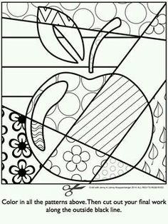 APPLE Pop Art Interactive Coloring Sheet - Basteln in der Grundschule Coloring Book Pages, Coloring Sheets, School Coloring Pages, Apple Pop, Pop Art Colors, Arte Country, Ecole Art, Art Classroom, Art Activities