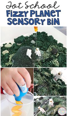 This Fizzy Planet Sensory Bin is super engaging and perfect for tot school, preschool, or the kindergarten classroom. Activities For 2 Year Olds, Space Activities, Spring Activities, Toddler Activities, Space Preschool, Preschool At Home, Preschool Themes, Toddler School, Tot School