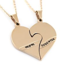 #Daughter #Mother Double #Heart #Necklace Split Heart by Tzaro on Etsy